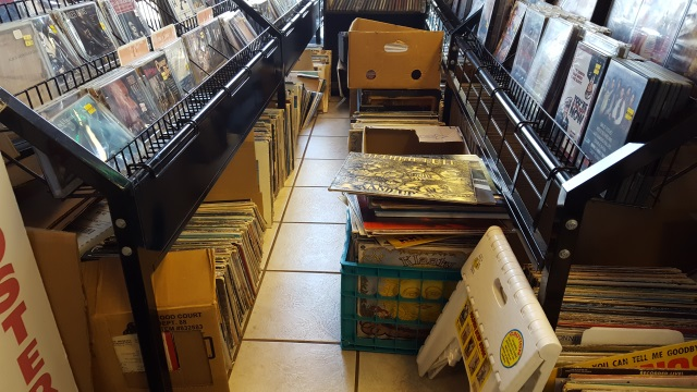 Vinyl in boxes at Harvest Music