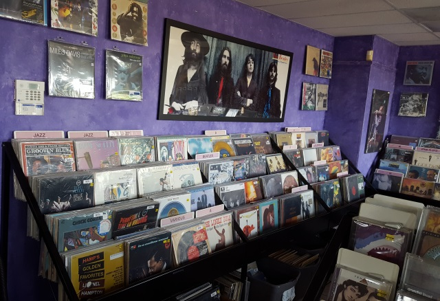 Records on sale at Harvest Music in Salem, Oregon