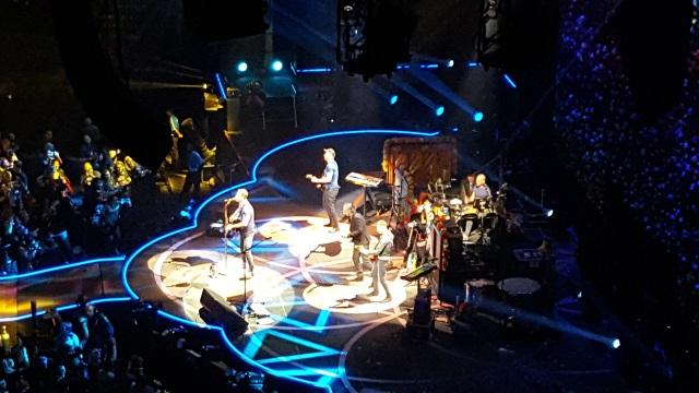 Coldplay on stage in Portland, Oregon