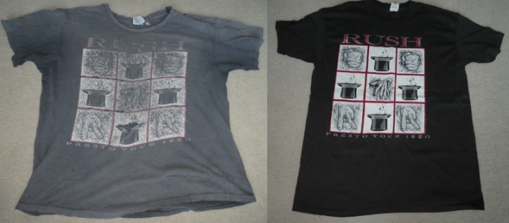 An old and new Rush Presto tour shirts