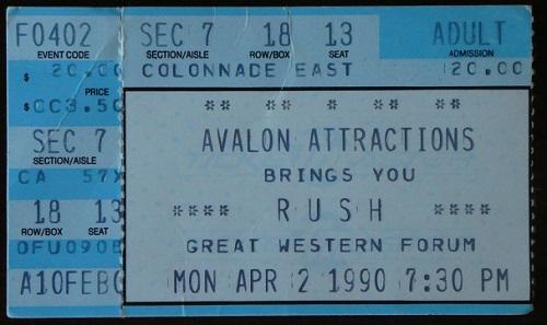 Rush Presto Tour Ticket