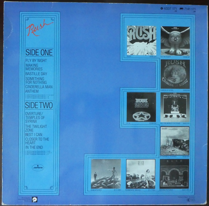 Backside of Rush Through Time album