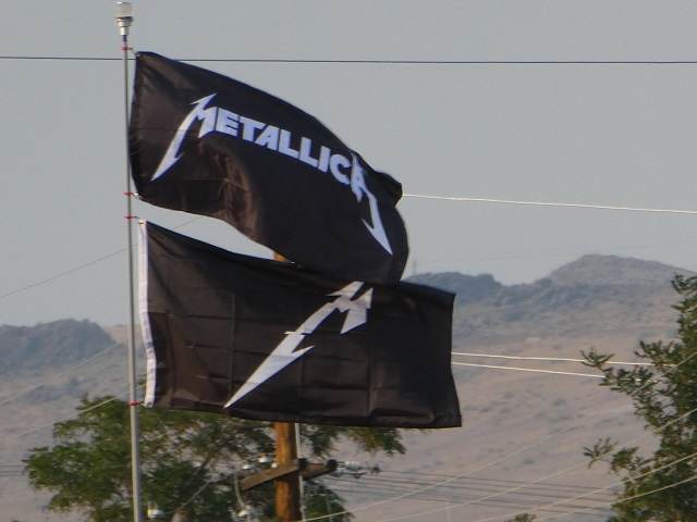 Metallica Flags in Display at Sparks, NV drive-in