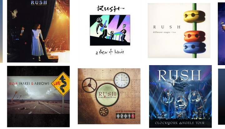 Collage of Rush Live Albums