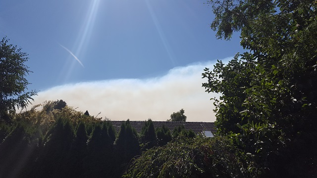 A line of smoke from the Oregon fires