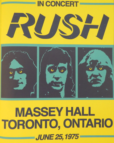 Rush at Massey Hall poster featured in Fly By Night tourbook