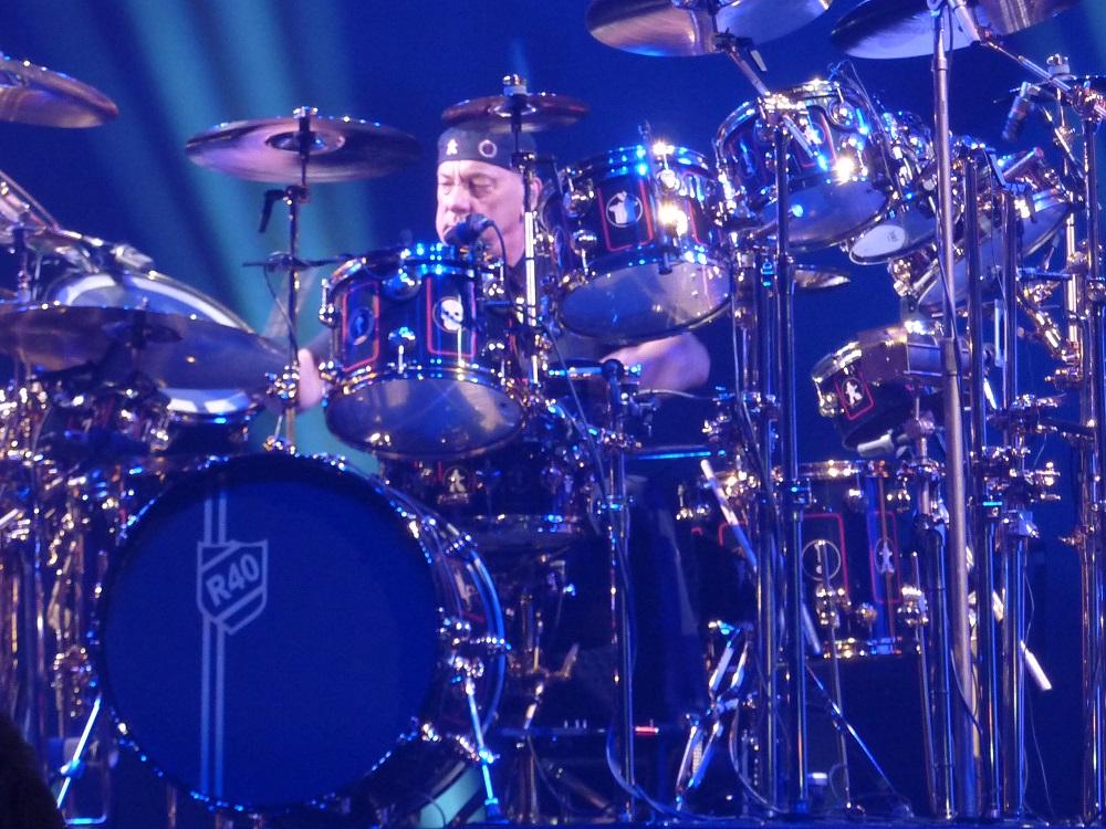 Neil Peart behind his drum kit
