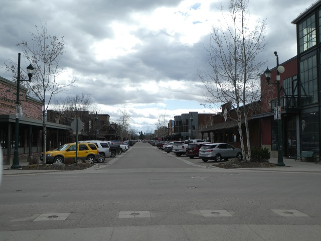A bust city block in downtown Whitefish, Montana