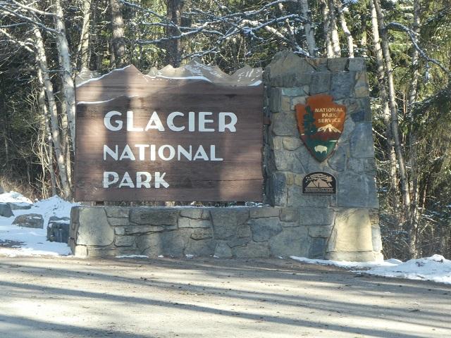 Entry sign for Glacier National Park