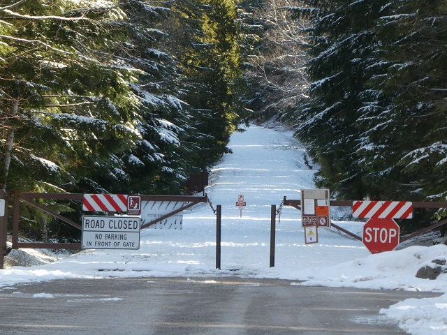 Road closed and filled with snow inside Glacier National Park