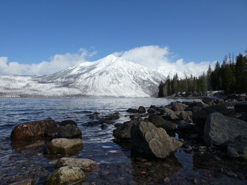 View of Glacier National Park from shores of McDonald Lake