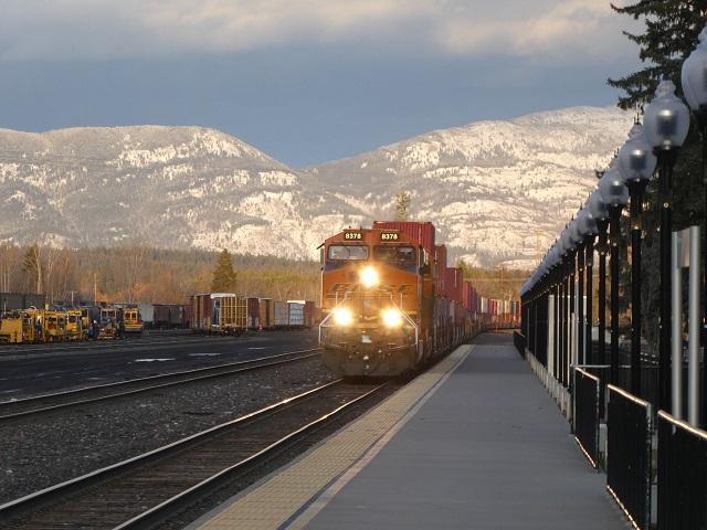 Freight train approaching Whitefish, Montana