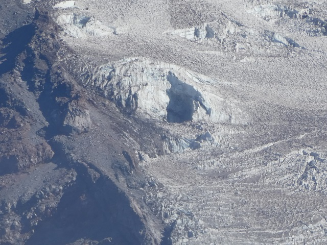 A crater in Nisqually Glacier on Mount Rainer